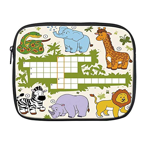 Word Search Puzzle Compatible with Nice iPad Bag,Colorful Crossword Game for Children Wild Jungle Safari Animals Grid Decorative for Office,One Size