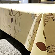 LeeVan Heavy Weight Vinyl square Table Cover Wipe Clean PVC Tablecloth Oil-proof/Waterproof Stain-resistant/Mildew-proof - 54 x 54 Inch (Autumn Leaves)
