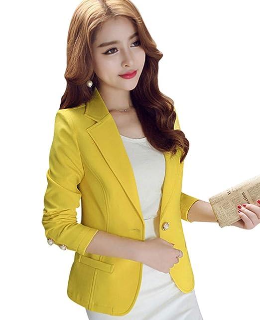 8ac9e4c3da8d Kaiyei Mujer Otoño Primavera Blazers y Chaquetas Trabajo Oficina Dama Traje  Slim Office Blazer Mujer Escudo: Amazon.es: Ropa y accesorios