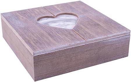 Danto® Rivanto - Caja de madera para regalos, con marco de fotos en forma de corazón, perfecta también como joyero con decoración de corazón, 20 x 20 x 6 cm: Amazon.es: Hogar