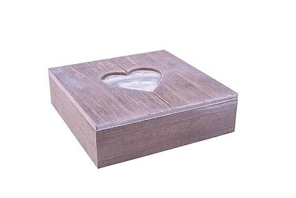 Danto® Rivanto - Caja de madera para regalos, con marco de fotos en forma