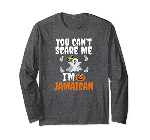 Unisex Can't Scare Me I'm Jamaican Long Sleeve Halloween Jamaica XL: Dark Heather -