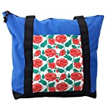 Lunarable Rose Shoulder Bag, Vintage Pastel Color Painting, Durable with Zipper