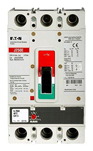 EATON CUTLER HAMMER JGE3250FAG 3P 250 Amp 25KA Fix Therm / Adj Mag Brkr w/ L/L Steel Coll