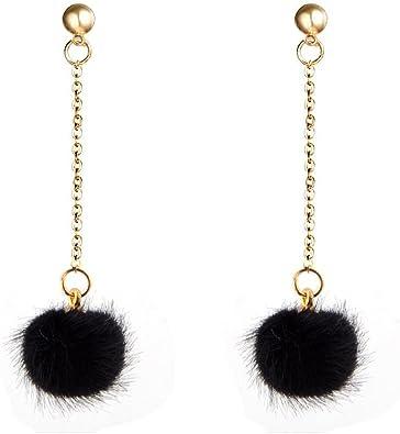 Fully 2 Pairs Womens Pom Pom Drop Earrings Girls Bohemian Vintage Retro Dangle Boho Metal Eardrop Hook