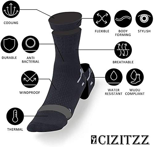 CIZITZZ Compression Socks Women,Men,15-20 mmhg,Black And Purple Socks For Medical,Athletic And Running Sports Fun,Black,L/XL