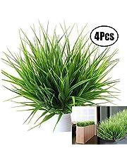 Lvcky 4 Ramos realistas de plástico Artificial Plantas de Trigo Artificial Hierba verdor arbustos de plástico Artificial para al Aire Libre
