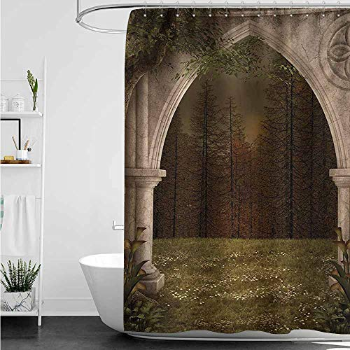 home1love Bathroom Curtains,Gothic Old Retro Arch in The Garden Renaissance Meadow Forest Dark Scary Design Image,Bathroom Curtain Washable Polyester,W36x72L,Green Beige -