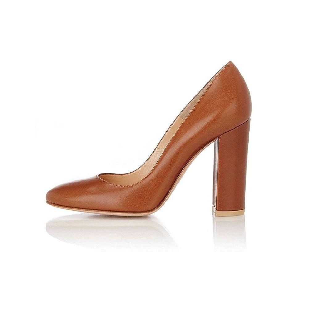 EDEFS 10cm Damen Blockabsatz Pumps Runde Zehe High Heels Heels Heels Geschlossen Damenschuhe 8f6cef