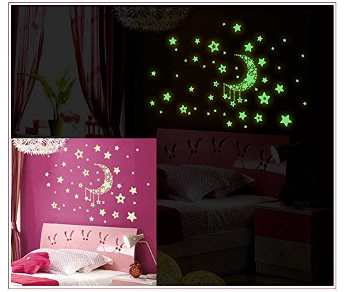 2 Sheets Glow in the Dark Wall Decals Stickers Removable Diy Luminous Light Moon Stars Wall Decals Stickers (Moon (Diy Glow Stick)