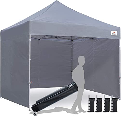 Keymaya 10×10 Ez Pop Up Canopy Tent Commercial Instant Shelter with 4 Removable sidewalls Bonus Weight Bag 4-pc Pack Grey