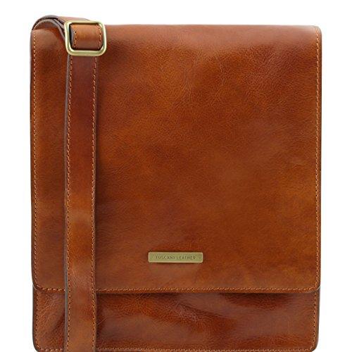 Tuscany Leather TL Messenger - Bolso en piel con bandolera 1 compartimento Miel Bolsos en piel Miel