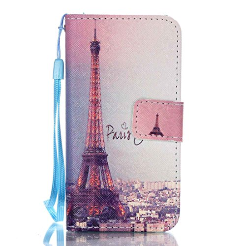 iPhone SE Case, Love Sound [I Love Paris] [Stand Feature] Premium Wallet PU Leather Folio Wallet Flip Case Cover Built-in Card Slots for Apple iPhone SE(2016) / 5S / 5 with Hand Strap
