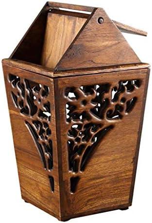 オフィスビン アンティークの木製たTrashBinシェイクカバーチーク廃ビンの手中空彫りゴミ箱屋内木製のゴミ箱3.2ガロン 寝室のビン