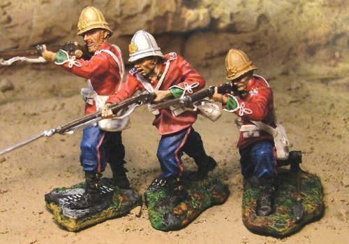 Zulu War British 24th Foot Firing 3 Piece Set Collectors Showcase Toy Soldiers Painted Metal Figure 54mm CS00326