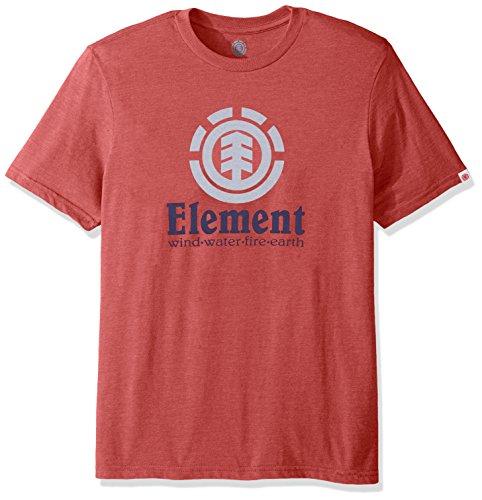 Element Men's Branded Logo T-Shirt Solid Colors, Vertical Aurora Red Heather, - Red Apparel Aurora