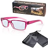 """3D Movie Glasses for Children - High Quality - Pink / Transparente - For RealD Cinema use and passive 3D TVs such as LG """"Cinema 3D"""" and Philips """"Easy 3D"""" and passive 3DTV from Panasonic, Grundig, Sony, Toshiba, CMX, Hisense, Finlux and more - Circularly Polarized - With Microfiber Pouch and Cleaning Cloth"""