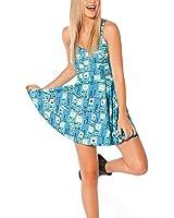 MicaCool Summer Pleated Knee-length Cherry Blossom Pattern Reversible Skater Dress