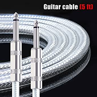 Kmise Guitar Instrument Cable Cord Straight 5ft OFC Braided Low Noise for Electric Guitar