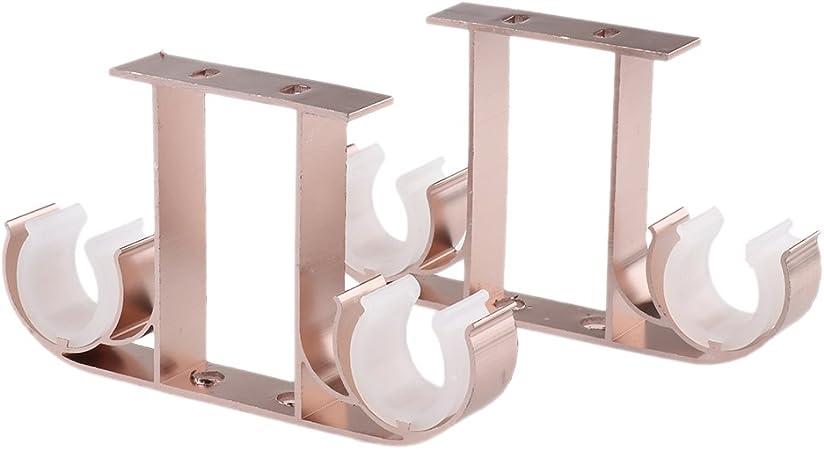 Baoblaze 2pcs Double Support De Tringle A Rideau Au Plafond En Alliage D Aluminium Pour Barre De Store Voilage Maison Rose Or