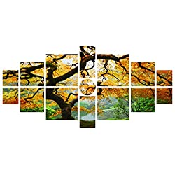Startonight Canvas Wall Art Maple Multi, Nature Tree Yellow, Landscape USA Design for Home Decor, Dual View Surprise Wall Art Set of 15 Total 39.37 X 82.7 Inch Original Art Painting!