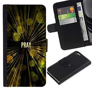 LASTONE PHONE CASE / Lujo Billetera de Cuero Caso del tirón Titular de la tarjeta Flip Carcasa Funda para Apple Iphone 5 / 5S / BIBLE Pray