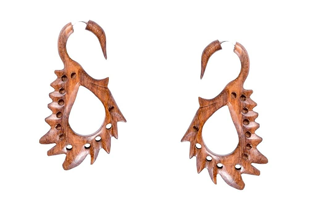 Tibetan Handmade Tribal Craft African Brown Wooden Fake Gauge Earring WER340A