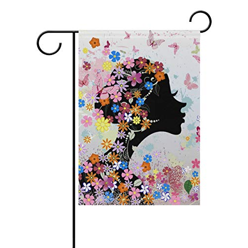 KGuanJi Floral Hairstyle Butterfly Flower 28x40 Garden Flag Double Sided House Yard Indoor Outdoor Seasonal Decoration -