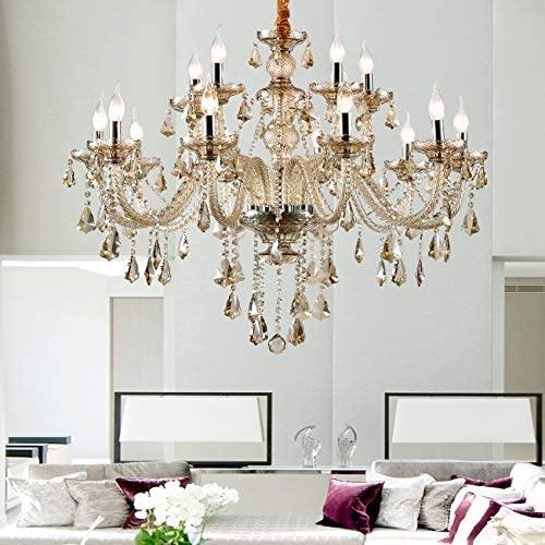 Ridgeyard 15 Lights Luxurious K9 Crystal Chandelier Candle Cognac Pendant Lamp Ceiling Lighting