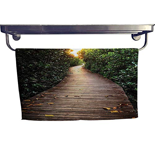 Leigh home Beach Towel,Boardwalk in Mangrove Sunlight Tunnel Autumn Golden Leav ,Luxury Towels Highly Absorbent Extra Soft W 35.5