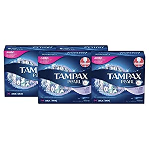Tampax Pearl Light Plastic Tampons, Unscented, 50 Count, 4 Boxes, (Total 200 Count)