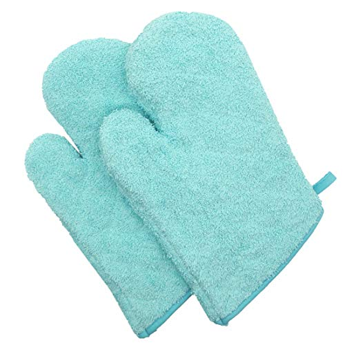 Mia'sDream 100% Cotton Kitchen Basic Terry Oven Mitts Oven Gloves Set for Cooking Grilling Barbeque Baking, Heat Resistant, Set of 2,Aqua ()