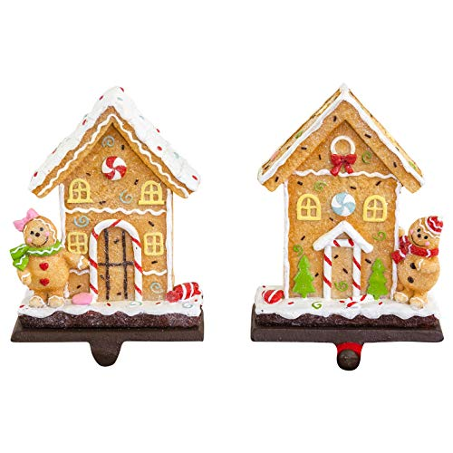 Sugar Smile Gingerbread Brown 8 x 5 Resin Holiday Stocking Hangers Set of 2 from Hanna's Handiworks