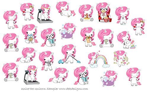 (Unice the Unicorn Sampler Sticker Sheet, (2) each printed on matte sticker paper or Matte Vinyl Sticker Paper. Kiss cut, just peel and stick.)