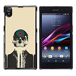 Impact Case Cover with Art Pattern Designs FOR Sony Xperia Z1 L39 Skull Skeleton Art Target Drawing Painting Head Betty shop