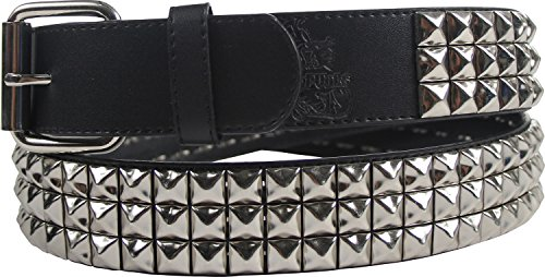 Triple Row Studded Leather Belt in Black/Chrome by BodyPunks, Size: Small (29-33), Color: Black/Chrome (Leather Triple Studded Belt)