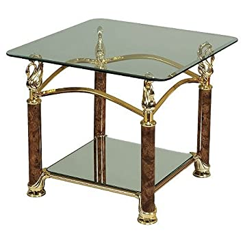 Attractive Side Table Glass Gold Swan