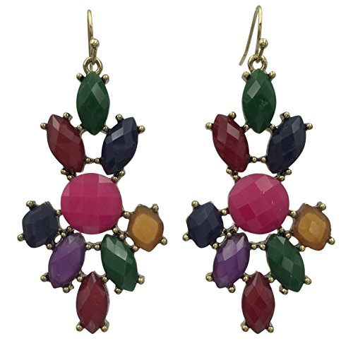 Abstract Colorful Cluster Gold Tone Dangle Boutique Style Earrings (Jewel Tones Multi Color)