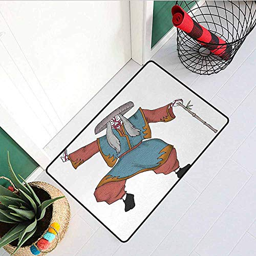 Gloria Johnson Kabuki Mask Inlet Outdoor Door mat Cultural Asian Character Posing with Traditional Hat Make Up and Costume Print Catch dust Snow and mud W31.5 x L47.2 Inch Multicolor