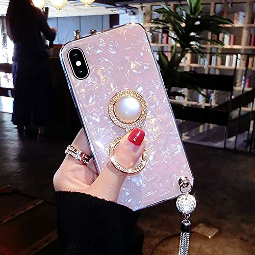 UR Sunshine iPhone XR Case, Multifunction Luxury Glitter Pearly-Lustre Shell Pattern Tassel Soft TPU iPhone XR Cover Case Sparkle Bling Crystal Back +Pearl Diamond Ring Holder - Pink