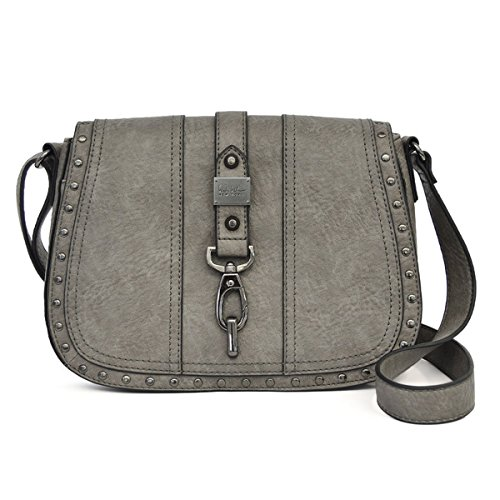Nicole Miller New York Barlow Saddle FLP Crossbody Handbag, Charcoal, One Size Nicole Miller Womens Accessories