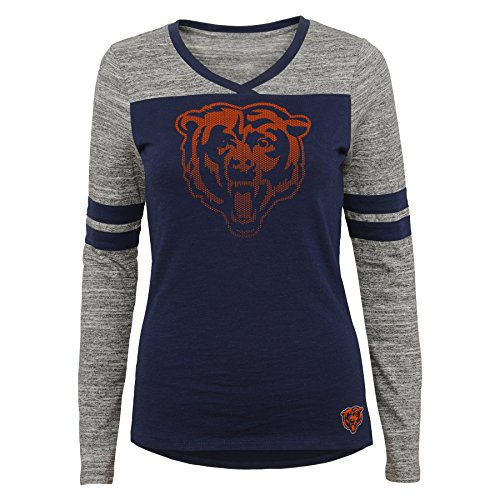 ret Fan Long Sleeve Football Tee, Chicago Bears, Deep Obsidian, L(11-13) ()