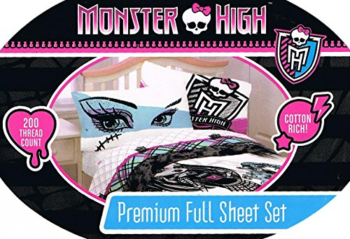4pc Monster High Full Bed Sheet Set Freaky Fashion Bedding A