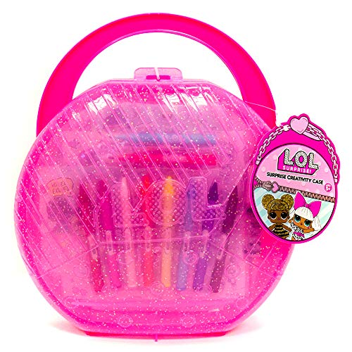 - L.O.L. Surprise! Creativity Case by Horizon Group USA, Coloring Pages, Makers, Glitter Glue, Crayons & Paper Dolls Included, Hot Pink