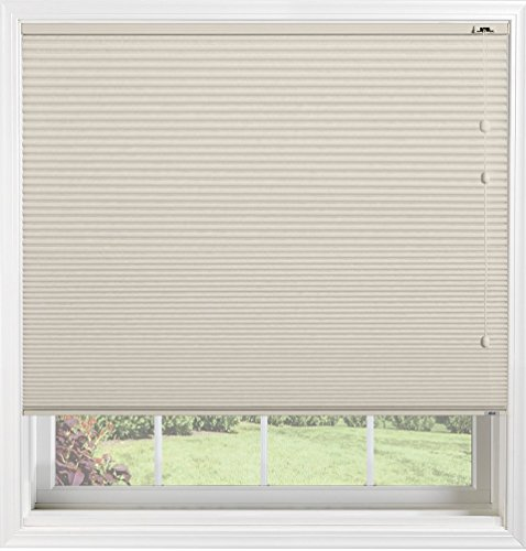"Bali Blinds Custom Blackout Cellular Shade with Cord Lift, 3/8"" Fabric, Double Cell Midnight Bone, 31"" x 37"""
