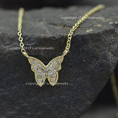 - 14K Solid Yellow Gold Butterfly Genuine SI Clarity G-H Color Diamond Pendant Necklace Handmade Jewelry