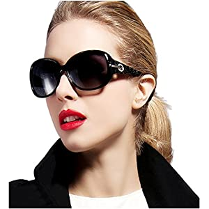 ATTCL Women Polarized UV400 Sunglasses Fashion Plaid Oversized Sunglasses 16214 Black
