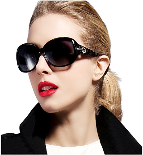 ATTCL Women Polarized UV400 Sunglasses Fashion Plaid Oversized Sunglasses 16214 - Sale Sunglasses