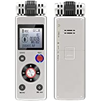 TopYart Portable Rechargeable 8GB Professional Digital Audio Voice Recorder with Dual Power Supply System Dictaphone Mp3 Player for Lectures, Meetings, Negotiation, Interview
