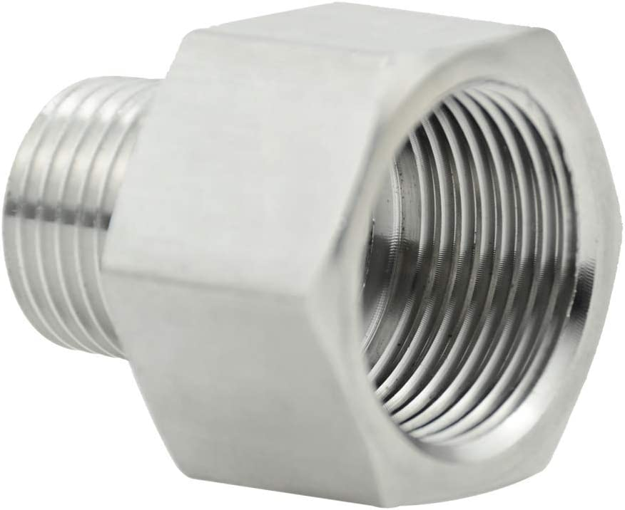 "beduan Garden Hose Adapter, 3/4"" GHT Female x 1/2"" NPT Male Connector,GHT to NPT Adapter Stainless Steel Garden Hose to Pipe Fittings Connect (3/4"" GHT Female x 1/2"" NPT Male)"
